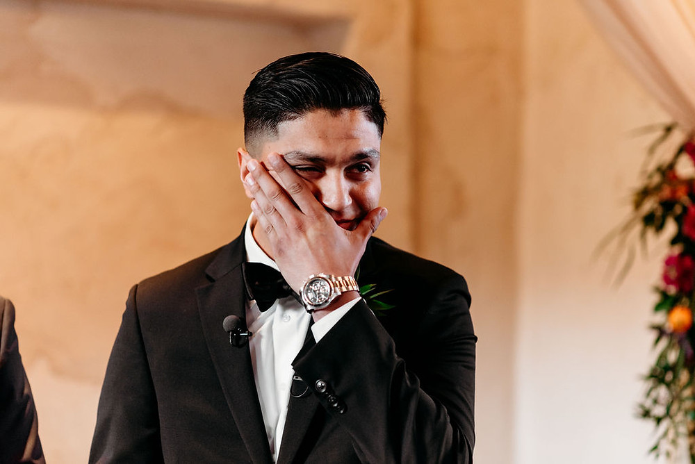 groom's reaction to seeing bride for first time. groom cries