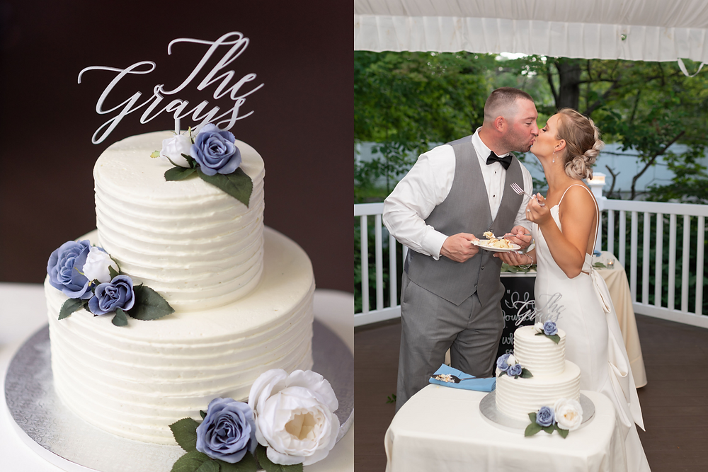 white wedding cake with purple flowers. bride and groom kiss after cutting the cake. Wedding cake from The Bean Counter Bakery
