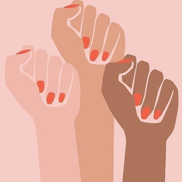 black lives matter fists in three different skin color shades