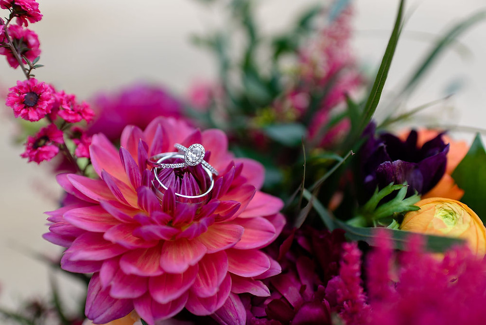 wedding rings in a flower