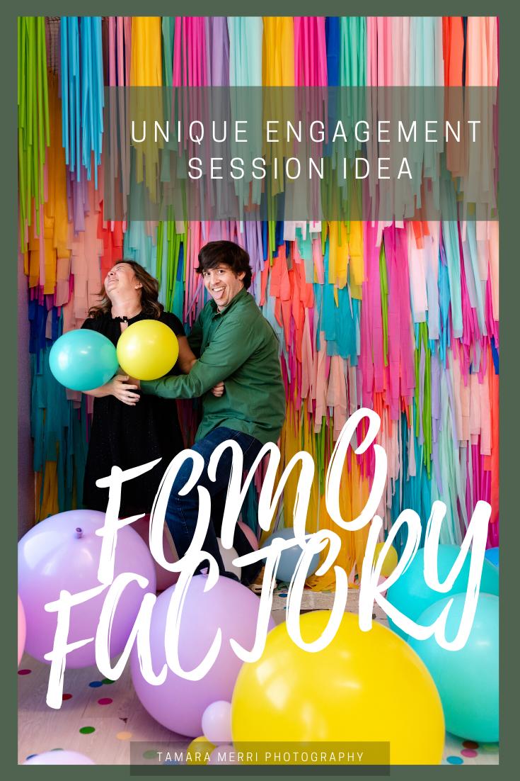 unique engagement session idea at the fomo factory in austin texas