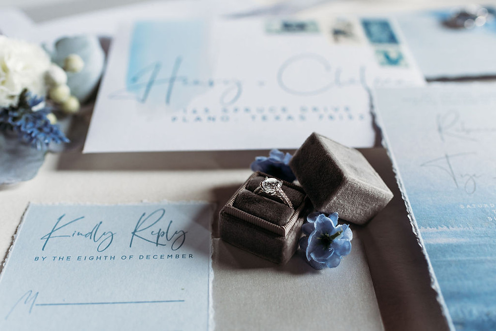 invitation suite layflat with the Mrs. ring box