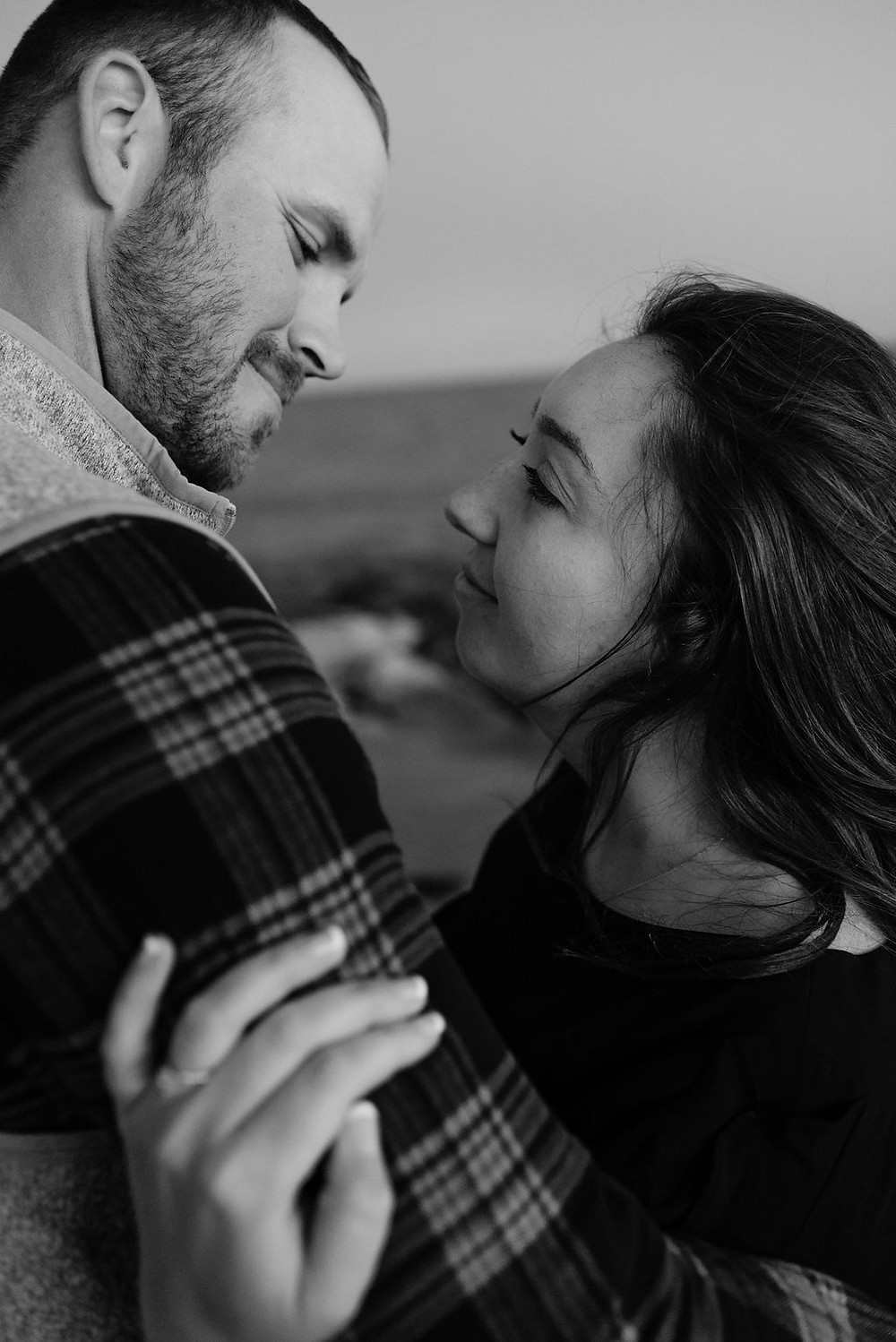 black and white engagement photo at lighthouse inn in West Dennis Cape cod, MA