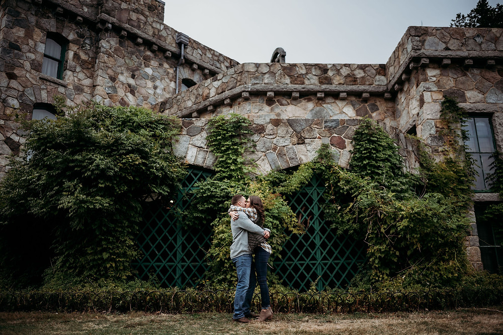 engagement photo at borderland state park. guy and girl ran towards each other and are in a full embrace