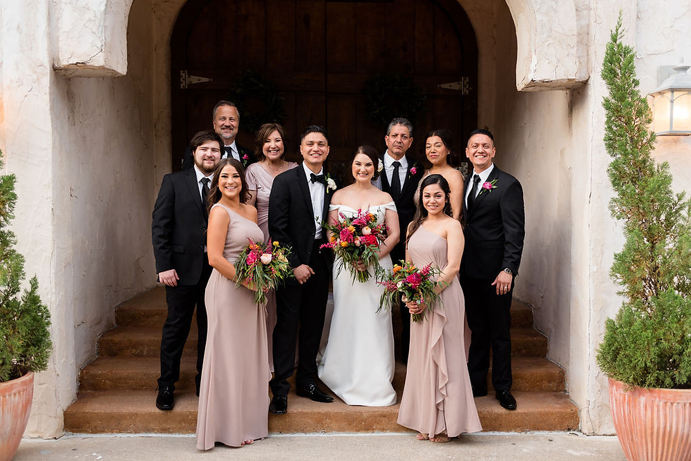 wedding family photo on steps of chapel at villa antonia