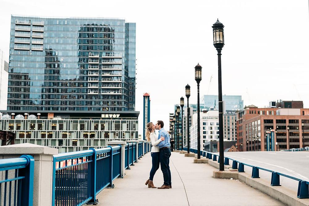 engagement photo on Evelyn Mokley Bridge to Seaport