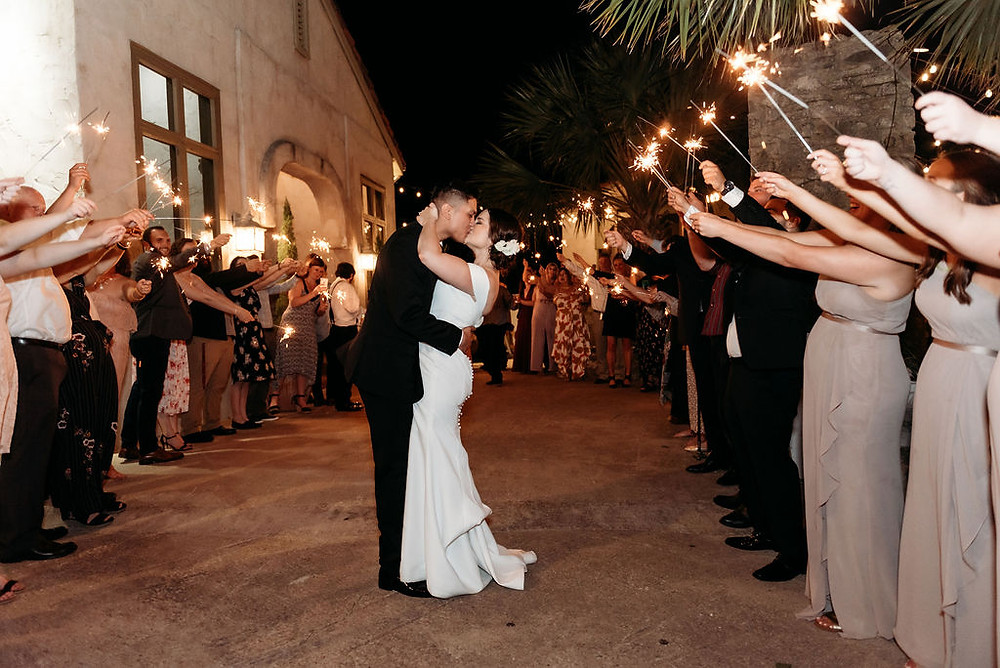 sparkler exit outside wedding chapel at villa antonia