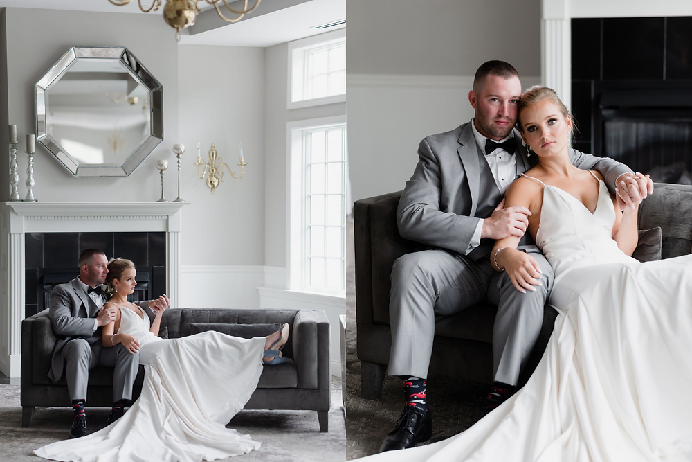 moody portraits on couch at chocksett in ballroom by fireplace