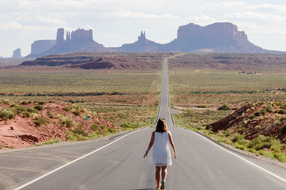 US-163 road where forrest gump stops running in the movie. Forrest Gump point near monument valley