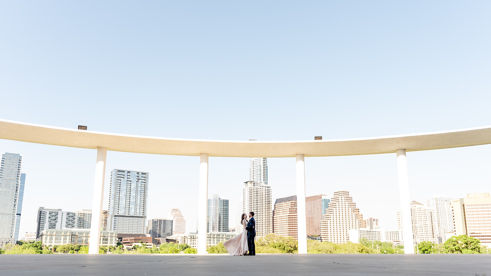 austin skyline view from the long center with newlyweds