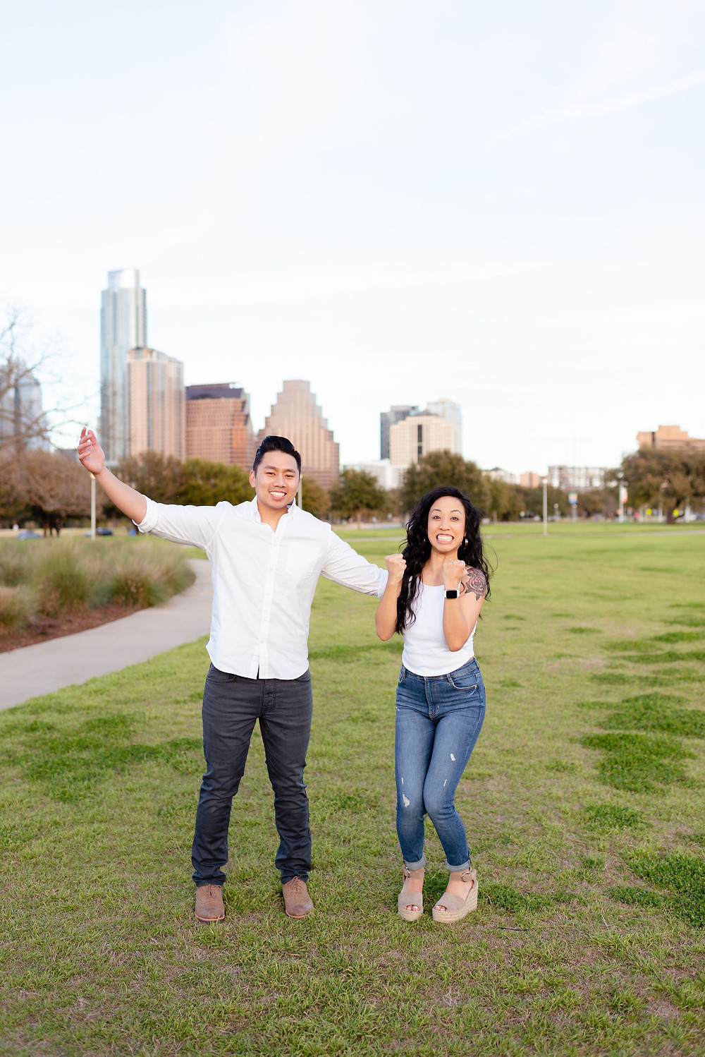 doug sahm hill downtown austin proposal. photo of how excited the couple is after getting engaged