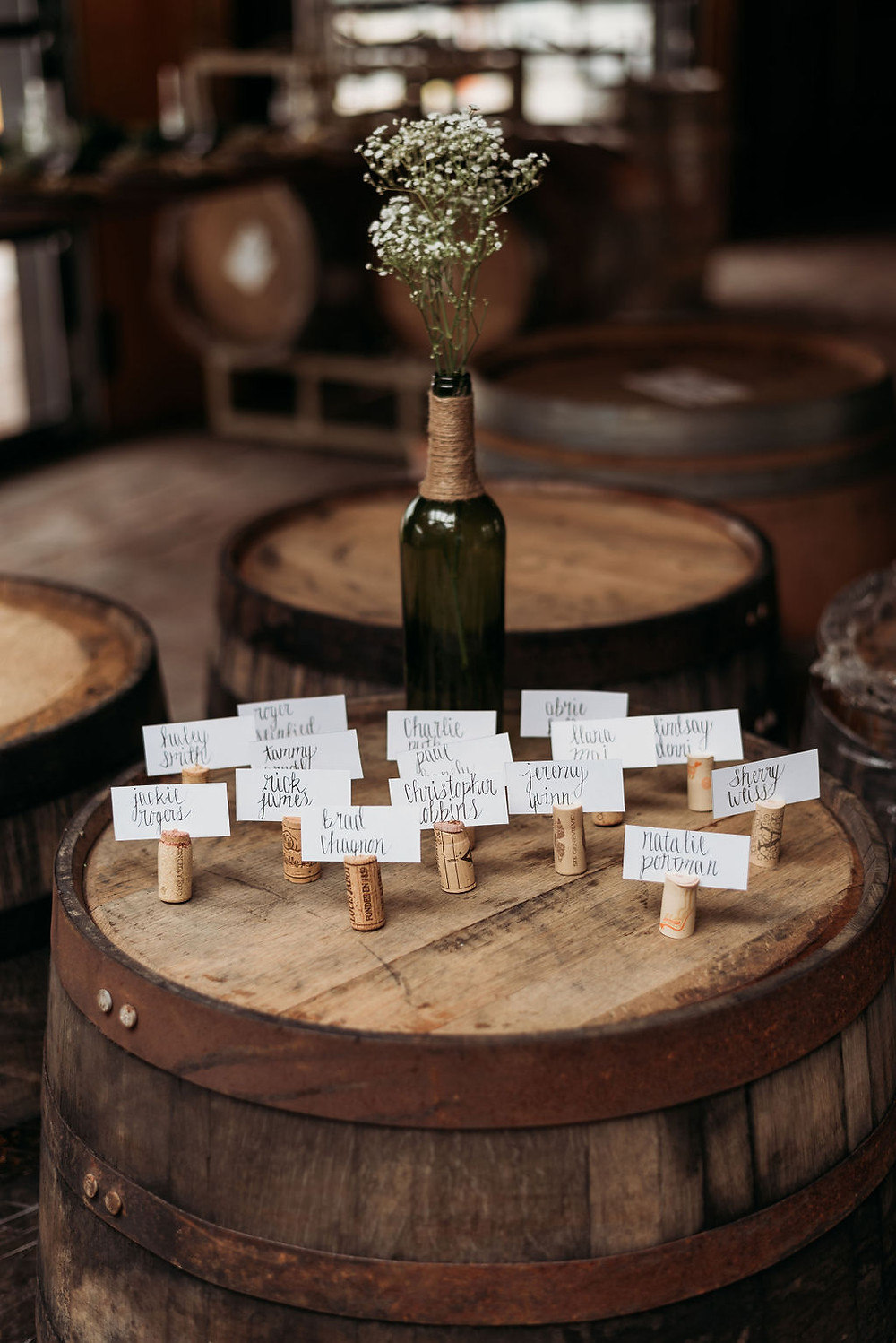 DIY name cards with wine corks for seating chart at lazarus brewery austin elopement