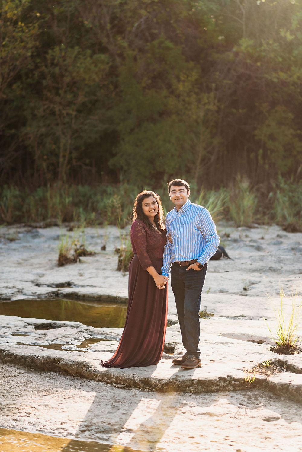 morning golden hour light for couples session at bull creek