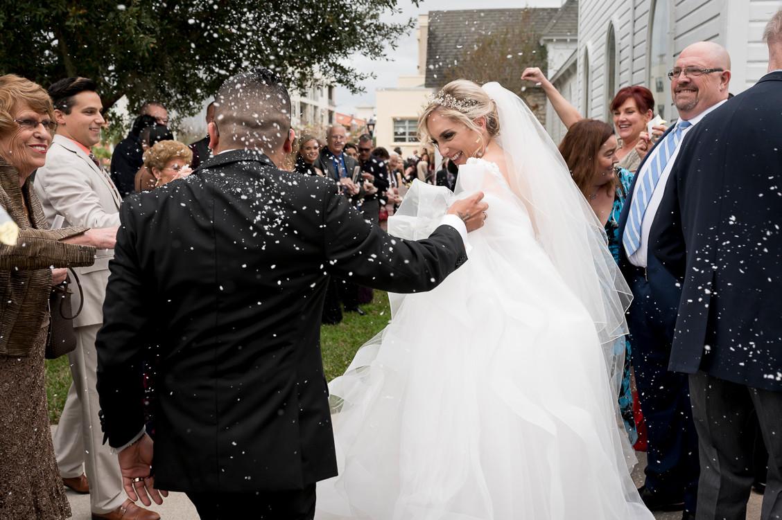 Central Florida wedding fake snow send-off