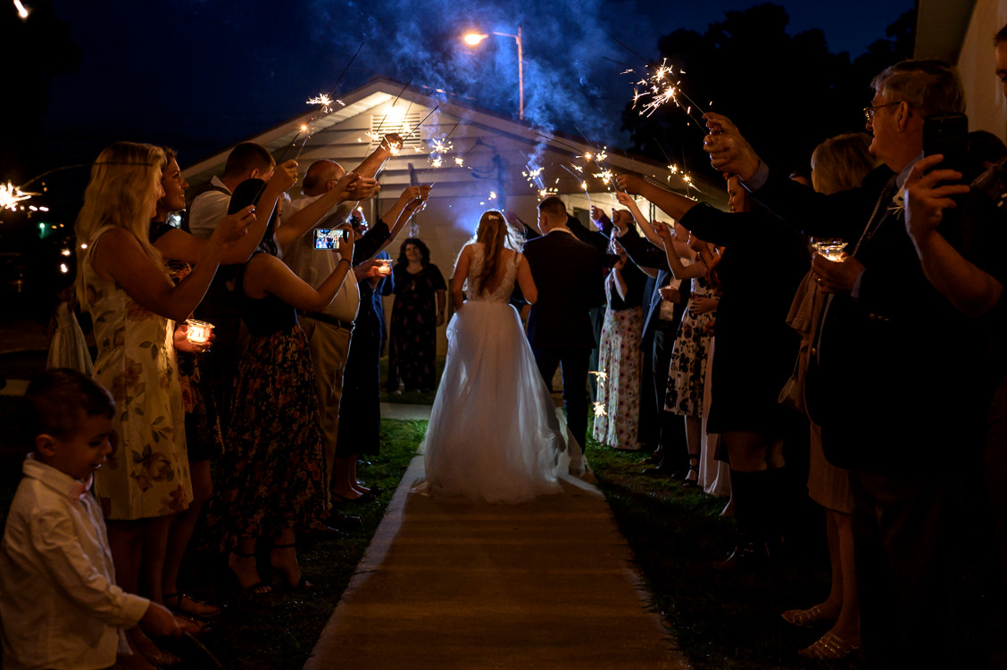 Sparkler send off at wedding, Ocala, Fl