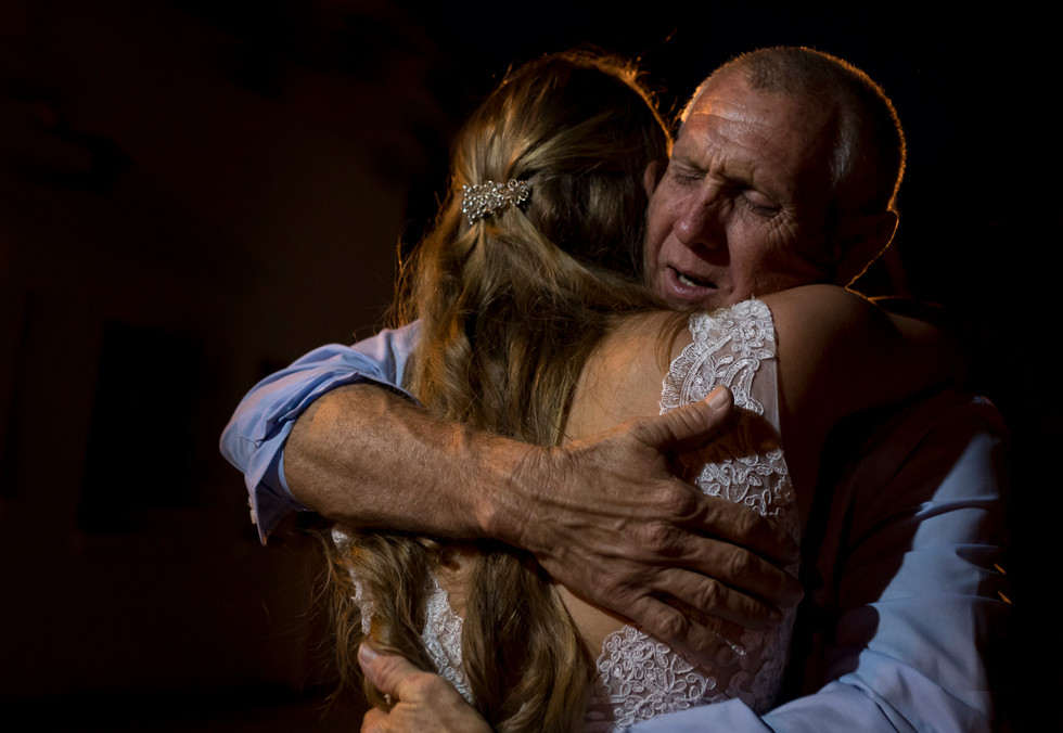father daughter first dance embrace, florida wedding, candid wedding photography