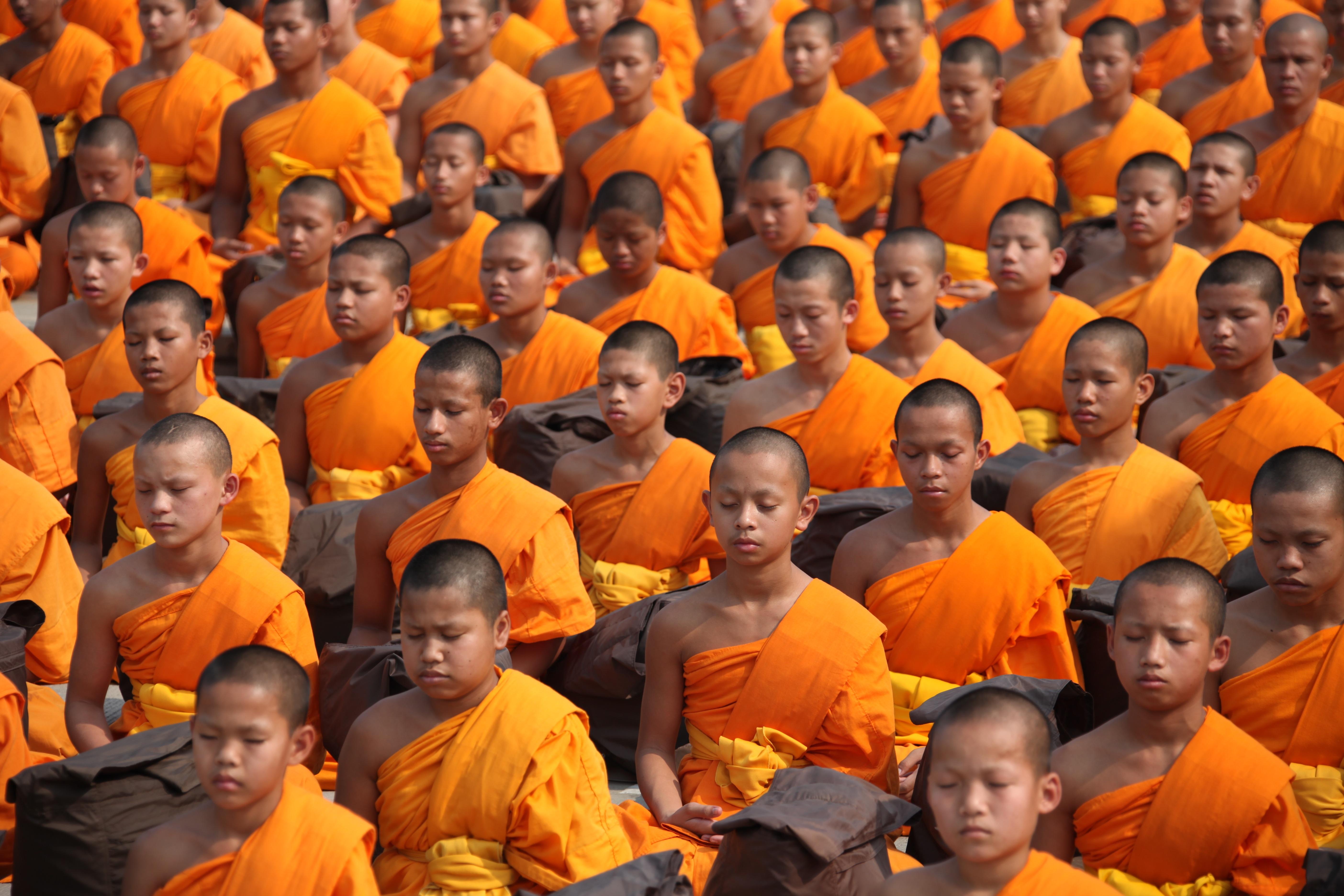 Buddhistische Mönche in Orange