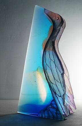 Glass, blue Bird sculpture