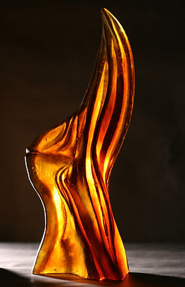 Hawthorn study, cast glass sculpture