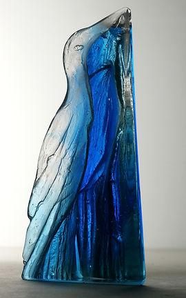 Cast glass blue bird