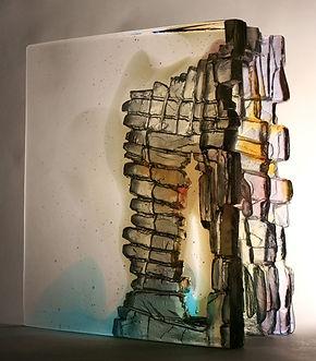 CRH 238, cast glass cliff edge. 27 X 25 X 12cm,