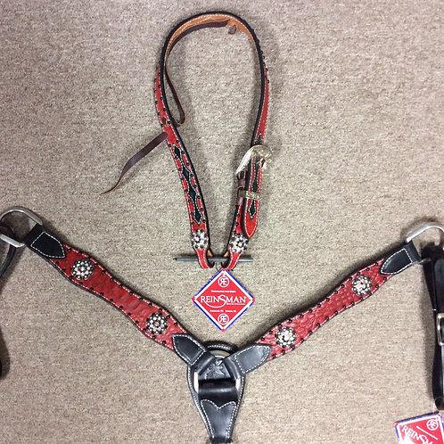 Reinsman Red Neon Belt Headstall