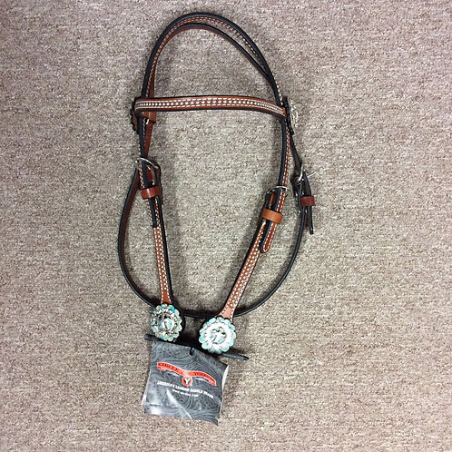 Circle Y spots and cross concho Browband Headstall