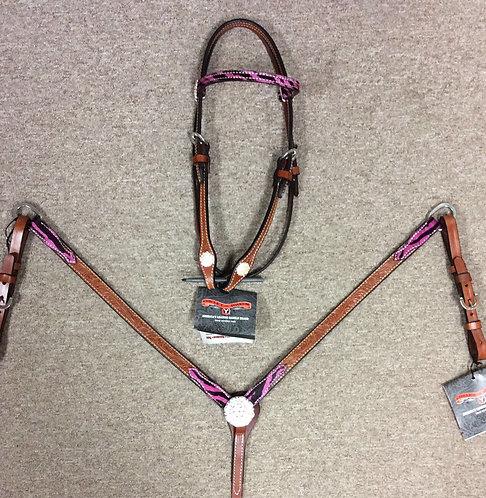 Circle Y Pink Zebra Tack Set