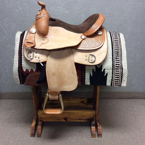 """*DAMAGE DISCOUNT* 15""""  Basket Weave RS Training Saddle"""