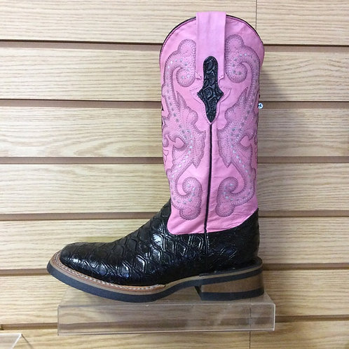 Women's Ferrini Pink and Black Croc