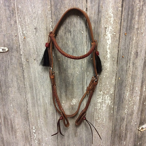 Red Rawhide Stitched Rolled Brow Band