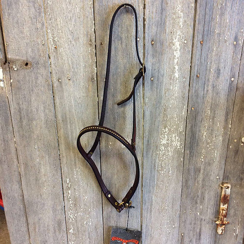 Circle Y Noseband walnut with brass dots 3/4""