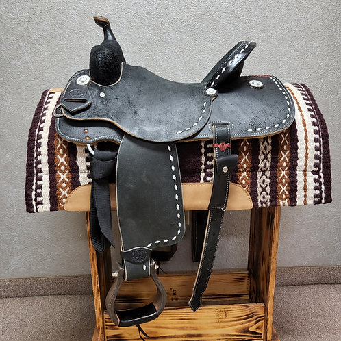 SRS Saddlery Barrel Saddle - Black with Buckstitch