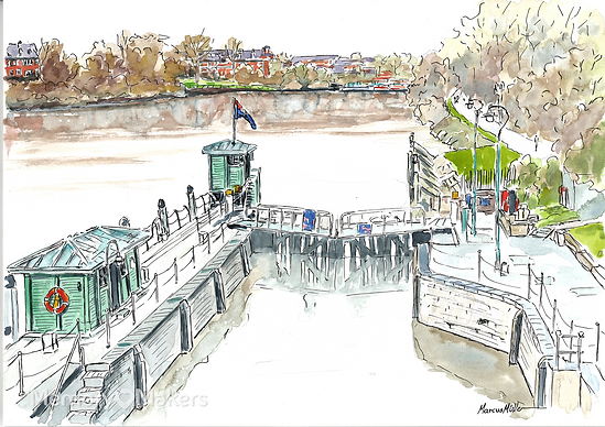 Richmond Lock Weir, watercolour & ink painting