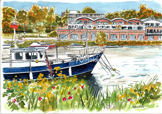 Richmond Canoe Club, watercolour & ink painting