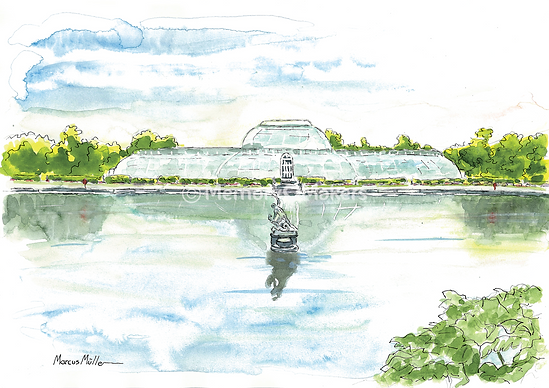 Kew Gardens fountains, watercolour & ink painting