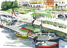 Boats from Richmond Bridge, watercolour & ink painting