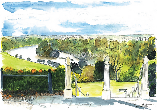 Richmond Hill Stairway, watercolour & ink painting