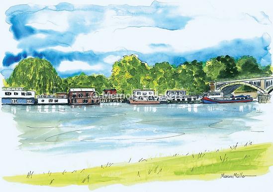 St Margaret's riverside, watercolour & ink painting