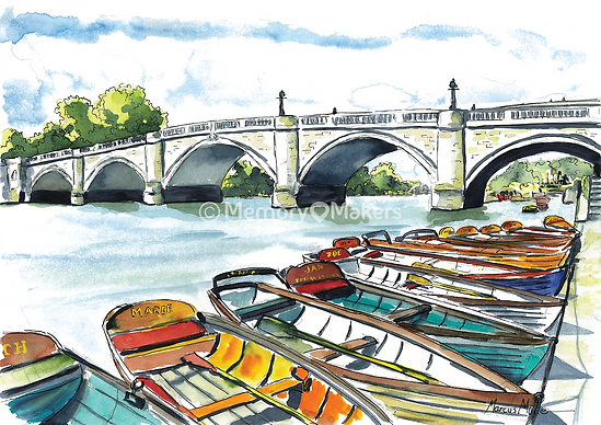 Richmond Bridge & Boats, watercolour & ink painting
