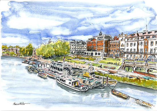 View of Richmond Riverside from Richmond Bridge, watercolour & ink painting