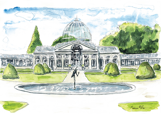 Syon Park Great Conservatory, watercolour & ink painitng