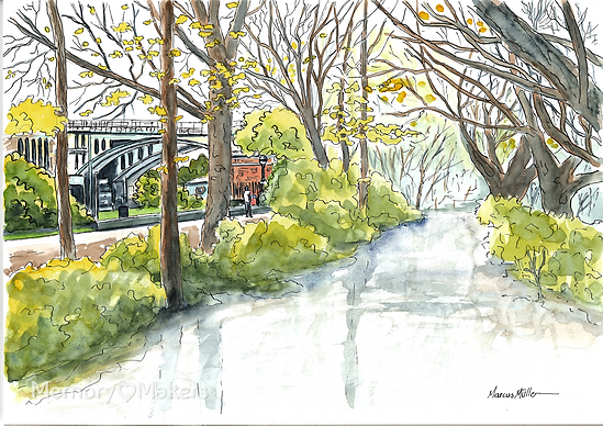 Richmond Lock and Footbridge, watercolour & ink painting