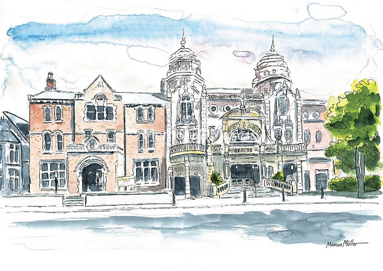 Richmond Theatre, watercolour & ink painting