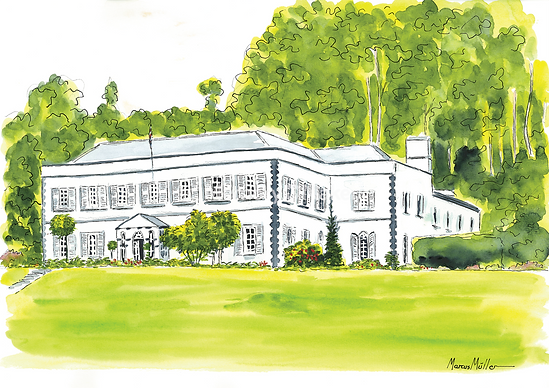 Plantation House, watercolor & ink painting