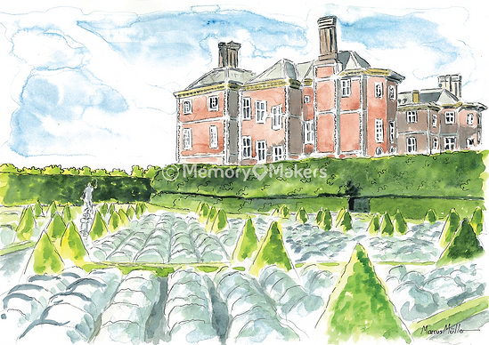 Ham House, watercolour & ink painting