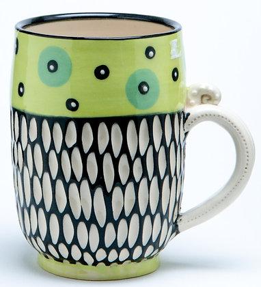 Scraffito Mug: Chartreuse