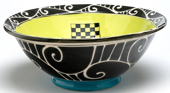 Checkered Bowl: Chartreuse Green