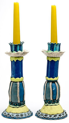 Candlestick: Cobalt Royalty Crackerjack (pair)