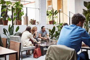 Pessoas negócio, em, um, lobby